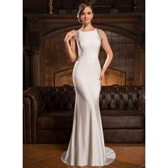 Trumpet/Sjöjungfru Rund-urringning Sweep släp Jersey Aftonklänning med Beading Paljetter