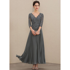A-Line V-neck Ankle-Length Chiffon Lace Evening Dress With Sequins Pleated