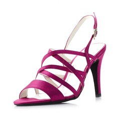 Women's Silk Stiletto Heel Peep Toe Sandals