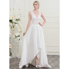 A-Line/Princess V-neck Asymmetrical Wedding Dress