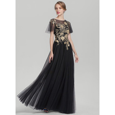 A-Line/Princess Scoop Neck Floor-Length Tulle Mother of the Bride Dress With Lace