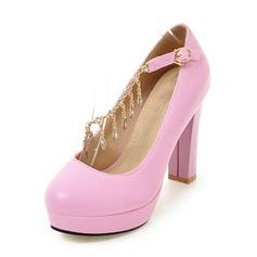 Frauen PU Stämmiger Absatz Absatzschuhe Plateauschuh Geschlossene Zehe mit Kette Schuhe