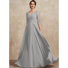A-Line V-neck Floor-Length Chiffon Lace Mother of the Bride Dress (008225555)