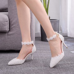 Kinderen Kunstleer Stiletto Heel Closed Toe Pumps Sandalen Mary Jane met Imitatie Parel Bloem