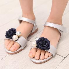 Girl's Microfiber Leather Flat Heel Peep Toe Sandals With Beading Velcro Flower