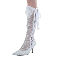 Women's Lace Spool Heel Boots Closed Toe Pumps With Lace-up