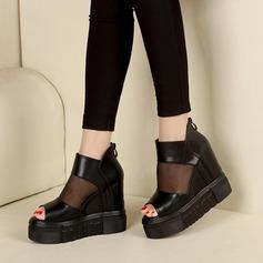Frauen Kunstleder Stoff Flache Schuhe Peep Toe mit Reißverschluss Schuhe