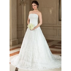 A-Line/Princess Strapless Chapel Train Satin Lace Wedding Dress