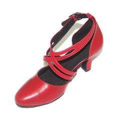 De mujer Piel Salón Sala de Baile Swing con Tira de tobillo Zapatos de danza