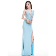 Sheath/Column Halter Floor-Length Jersey Prom Dresses With Beading Sequins Split Front
