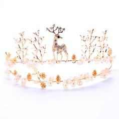 Damer Glamorøse Rhinestone Tiaraer med Venetianske Perle