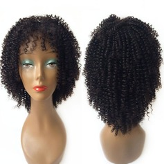 4A Non remy Curly Human Hair Full Lace Cap Wigs