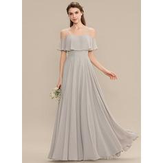 A-Line Off-the-Shoulder Floor-Length Chiffon Bridesmaid Dress