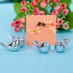 """Love Bird"" Chrome Place Card Holders (Set of 4)"