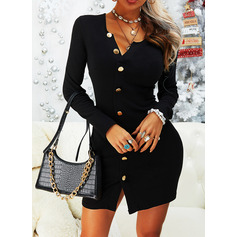 Solid Bodycon Long Sleeves Mini Little Black Casual Dresses (294254692)