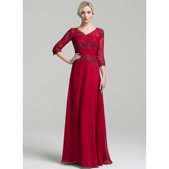 A-Line/Princess V-neck Floor-Length Chiffon Mother of the Bride Dress With Ruffle (008091956)