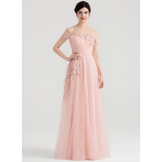 A-Line/Princess Off-the-Shoulder Floor-Length Tulle Evening Dress With Ruffle Feather Flower(s)