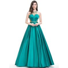 Ball-Gown Scoop Neck Floor-Length Satin Prom Dress With Beading Sequins (018105565)