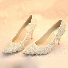 Women's Leatherette Stiletto Heel Closed Toe Pumps With Rhinestone Flower Lace-up