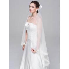 Dos capas Con Aplicación de encaje Velos de novia vals