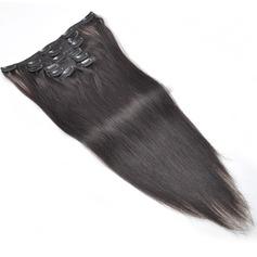 7A Rakt människohår Klämma i hårförlängningar (Säljs i ett enda stycke)