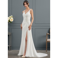 Trumpet/Mermaid V-neck Court Train Stretch Crepe Wedding Dress With Ruffle Lace Beading