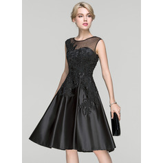 A-Line/Princess Scoop Neck Knee-Length Satin Cocktail Dress With Beading Sequins (016094339)