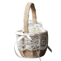 Elegant Flower Basket in Lace With Bow (102190544)