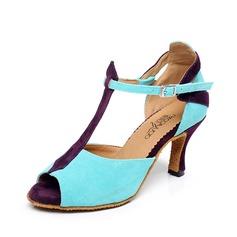 Женщины Замша На каблуках Сандалии Латино с Т-ремешок пряжка Обувь для танцев