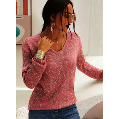 V-Neck Casual Solid Chunky knit Sweaters (1002250149)