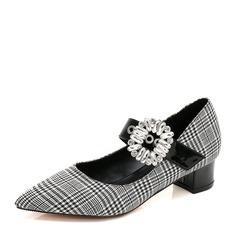 Women's Fabric PU Chunky Heel Closed Toe With Rhinestone Buckle shoes
