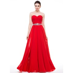 A-Line/Princess Sweetheart Floor-Length Chiffon Prom Dress With Ruffle Beading Sequins (018056799)