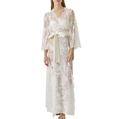 Bride Lace With Ankle-Length Satin & Lace Robes (248149557)