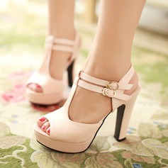 Women's Leatherette Chunky Heel Sandals With Buckle Hollow-out shoes
