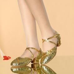 Femmes Similicuir Pailletes scintillantes Sandales Salle de bal avec Boucle Ouvertes Chaussures de danse