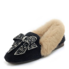 Donna Camoscio Senza tacco Ballerine Mary Jane con Strass Bowknot scarpe