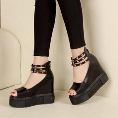 Femmes Similicuir Chaussures plates À bout ouvert avec Rivet Zip chaussures