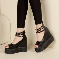 Frauen Kunstleder Flache Schuhe Peep Toe mit Niete Reißverschluss Schuhe