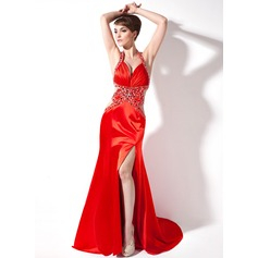 Trumpet/Mermaid Sweetheart Watteau Train Charmeuse Evening Dress With Ruffle Beading Split Front
