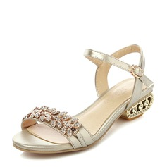 Women's Patent Leather Low Heel Sandals Beach Wedding Shoes With Buckle Rhinestone