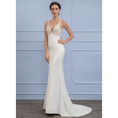 Empire V-neck Sweep Train Stretch Crepe Wedding Dress (002107835)