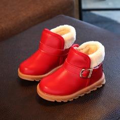 Mädchens Geschlossene Zehe Schneestiefel Microfaser-Leder Flache Ferse Flache Schuhe Stiefel mit Schnalle