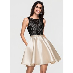A-Line/Princess Scoop Neck Short/Mini Satin Homecoming Dress With Lace Pockets (022164897)