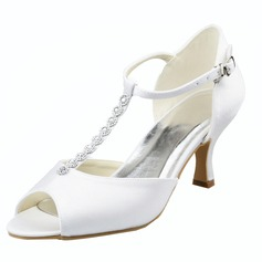 Women's Satin Stiletto Heel Peep Toe Sandals With Buckle Rhinestone