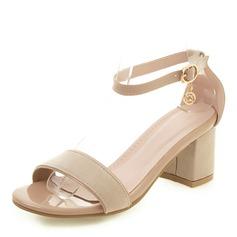 Femmes Similicuir Talon bottier Sandales Escarpins À bout ouvert avec Boucle chaussures