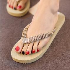 Kvinnor Duk Flat Heel Plattform Flip Flops Tofflor med Blomma skor
