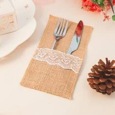 Linen Cutlery Bag With Lace (Set of 12)