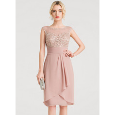 Sheath/Column Scoop Neck Knee-Length Chiffon Cocktail Dress With Cascading Ruffles (016140390)