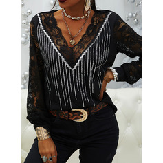 Lace Sequins V-Neck Long Sleeves Elegant Blouses (1003254179)