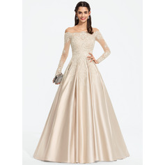 Ball-Gown/Princess Off-the-Shoulder Sweep Train Satin Prom Dresses With Sequins (018187220)